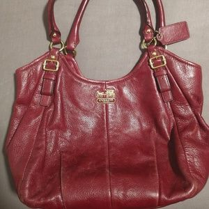 Coach Burgundy leather tote